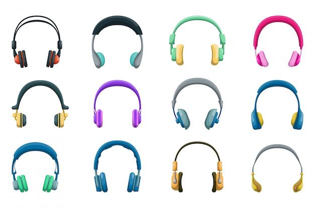 Conjunto de ícones de fones de ouvido grande.