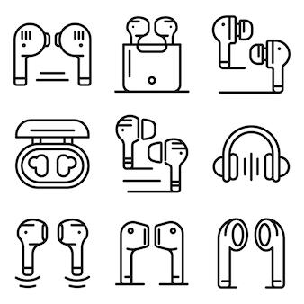 Conjunto de ícones de fones de ouvido sem fio, estilo de estrutura de tópicos
