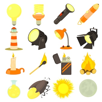 Conjunto de ícones de fonte de luz
