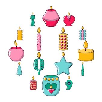 Conjunto de ícones de formas de vela luz, estilo cartoon