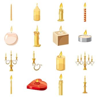 Conjunto de ícones de formas de velas, estilo cartoon