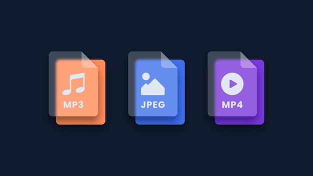Conjunto de ícones de formato de arquivo ícones de arquivo de imagem de áudio e vídeo