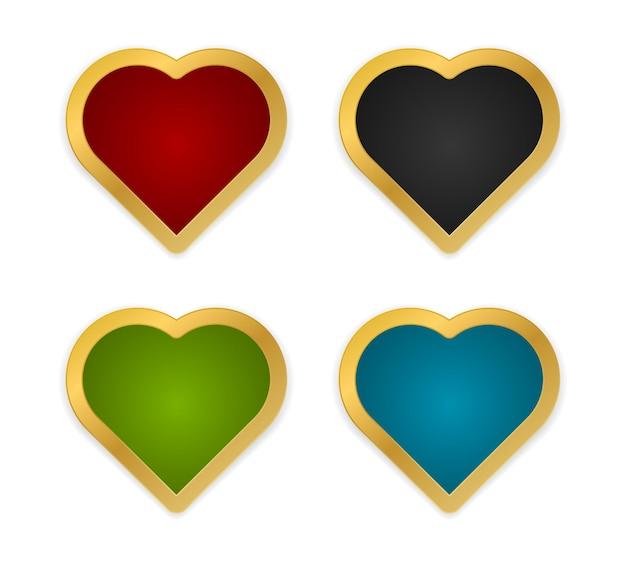 Conjunto de ícones de formato de coração com moldura de ouro isolado