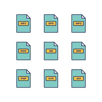 Conjunto de ícones de formatos de arquivo isolado no fundo branco