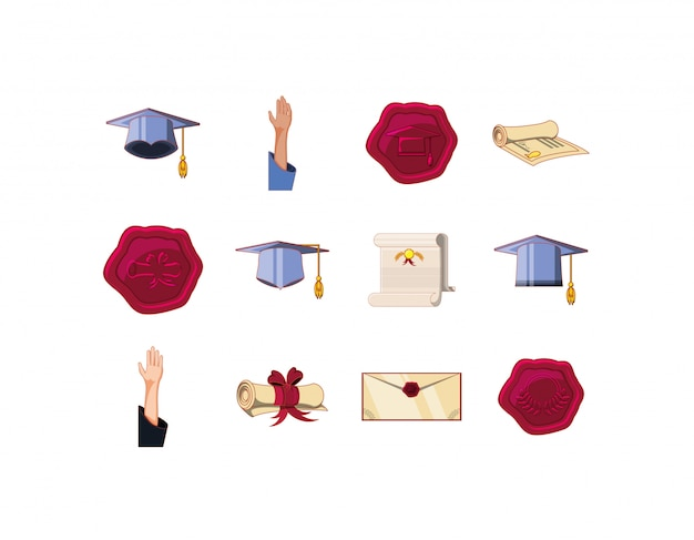 Conjunto de ícones de formatura isolado