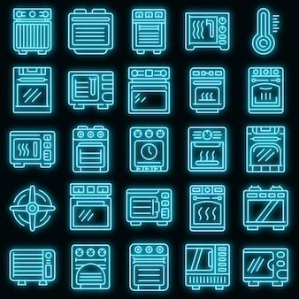Conjunto de ícones de forno de convecção. conjunto de contorno de ícones de vetor de forno de convecção, cor de néon no preto