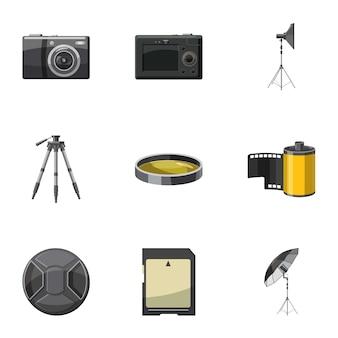Conjunto de ícones de foto, estilo cartoon