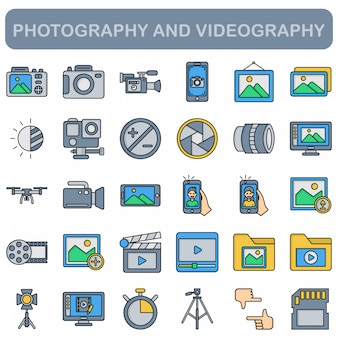 Conjunto de ícones de fotografia e videografia, estilo de cor linear