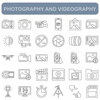 Conjunto de ícones de fotografia e videografia, estilo de estrutura de tópicos