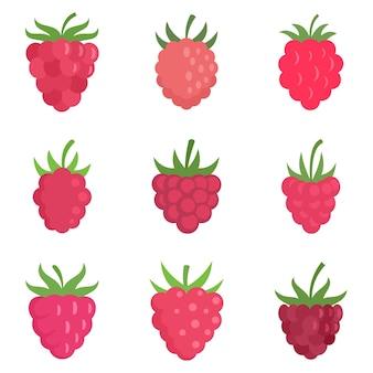 Conjunto de ícones de framboesa. conjunto plano de ícones de framboesa isolado no fundo branco