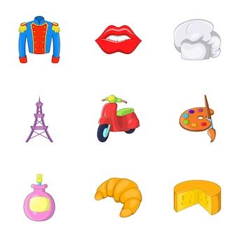 Conjunto de ícones de frança, estilo cartoon