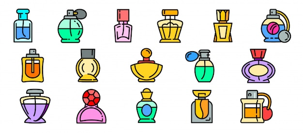 Conjunto de ícones de frascos de perfume, estilo de estrutura de tópicos