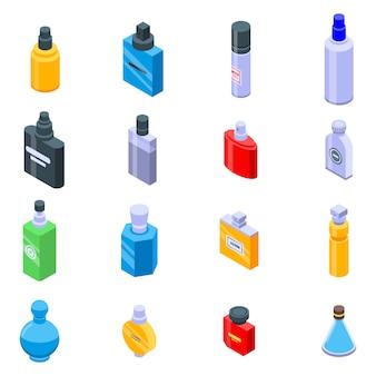 Conjunto de ícones de frascos de perfume, estilo isométrico