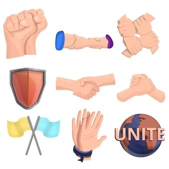 Conjunto de ícones de fraternidade, estilo cartoon