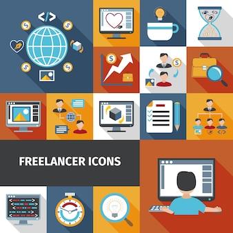 Conjunto de ícones de freelancer