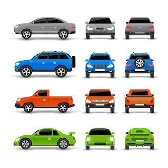 Conjunto de ícones de frente e verso de lado de carros