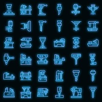 Conjunto de ícones de fresadora. conjunto de contorno de ícones de vetor de máquina de trituração, cor de néon no preto