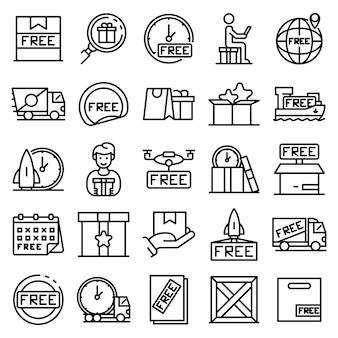 Conjunto de ícones de frete grátis, estilo de estrutura de tópicos