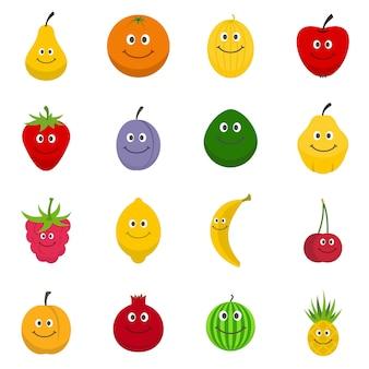 Conjunto de ícones de fruta sorridente