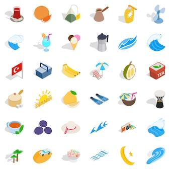Conjunto de ícones de fruta turquia, estilo isométrico