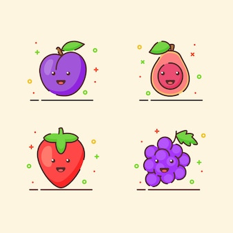 Conjunto de ícones de frutas coleção ameixa goiaba morango uva mascote fofo rosto emoção fruta feliz com cor