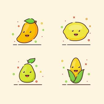 Conjunto de ícones de frutas coleção manga limão milho pera mascote bonito rosto emoção fruta feliz com cor