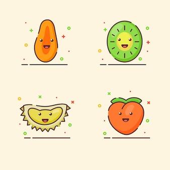 Conjunto de ícones de frutas coleção papaia kiwi durian pêssego mascote bonito rosto emoção fruta feliz com cor
