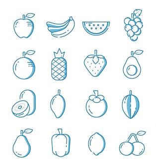 Conjunto de ícones de frutas com estilo de estrutura de tópicos