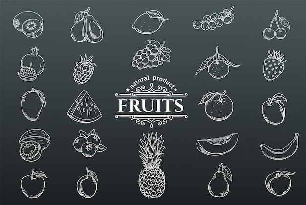 Conjunto de ícones de frutas de mão desenhada.