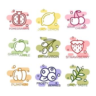 Conjunto de ícones de frutas e legumes forrado