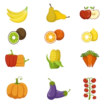 Conjunto de ícones de frutas e legumes frescos