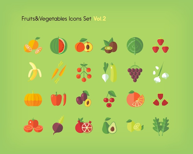 Conjunto de ícones de frutas e legumes. ilustração.