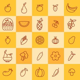 Conjunto de ícones de frutas e legumes
