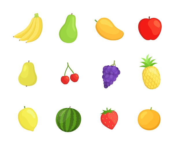 Conjunto de ícones de frutas em design de estilo simples