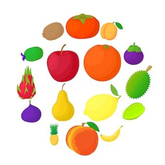 Conjunto de ícones de frutas, estilo cartoon