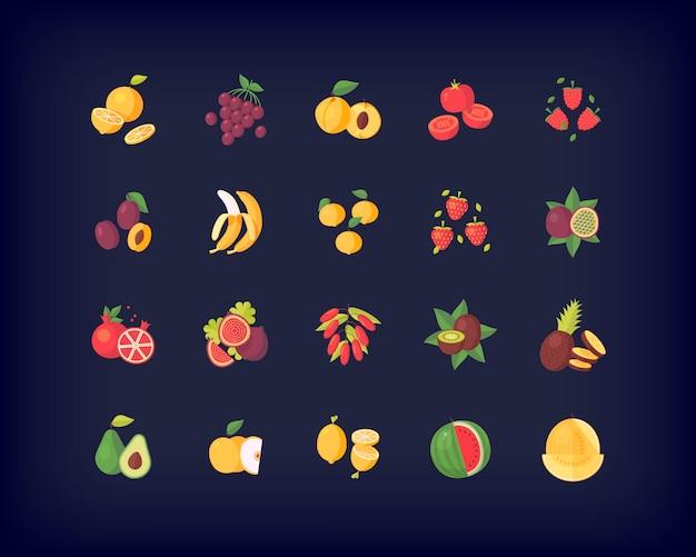 Conjunto de ícones de frutas frescas