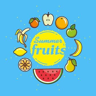 Conjunto de ícones de frutas localizados ao redor. ilustração vetorial