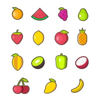 Conjunto de ícones de frutas planas e elementos