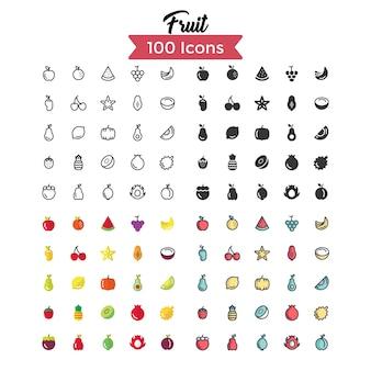 Conjunto de ícones de frutas.