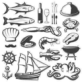 Conjunto de ícones de frutos do mar com peixe e videira, preparados no restaurante