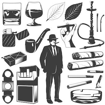 Conjunto de ícones de fumar