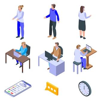Conjunto de ícones de funcionários de call center