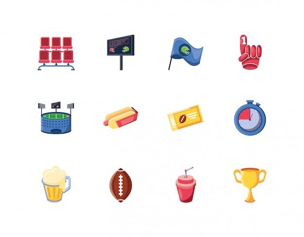Conjunto de ícones de futebol americano