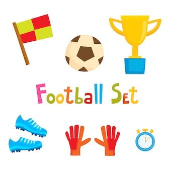 Conjunto de ícones de futebol dos desenhos animados. coleção de futebol isolada no branco
