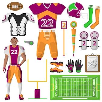 Conjunto de ícones de futebol. , equipamento esportivo e uniforme