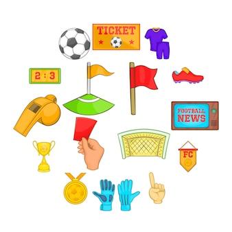 Conjunto de ícones de futebol, estilo cartoon