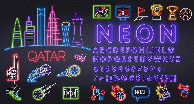 Conjunto de ícones de futebol isolado futebol neon sign uniforme xícara bola apito futebol bola futebol campo scor ...