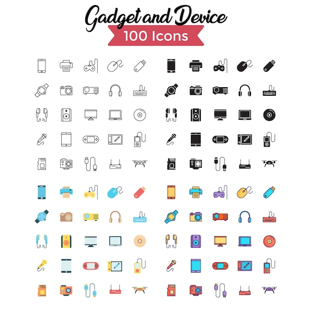 Conjunto de ícones de gadget e dispositivos.