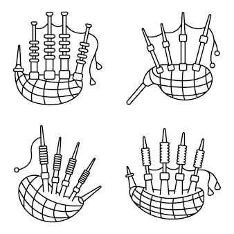 Conjunto de ícones de gaitas de foles. conjunto de contorno de ícones de vetor de gaitas de foles