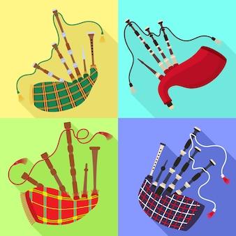 Conjunto de ícones de gaitas de foles. flat set de vetor de gaitas de foles